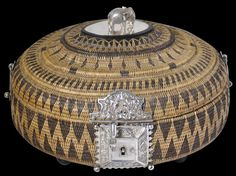 Exceptional Woven Cane Jewellery Basket with Silver Mounts (Vel-pettiya). This and more asian art for sale on the CuratorsEye.com