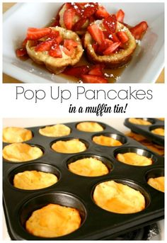 We love to eat pop up pancakes for breakfast, such a fun recipe. But how about making them in a muffin tin? Cute small little breakfast bites!
