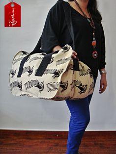 TOP Gift Idea 2014 - Everyday Use Large Bird Motif Block Print Bag -Travel Bag - Large #Weekender Bag @Etsy store etsy.me/1Bgw0kR