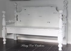 My brother created this 3 person bench for me -- it is solid and would be safe to hide under during a tornado! Painted in Annie Sloan Pure White $500 Can or $380 US
