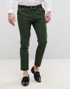ASOS Super Skinny Cropped Smart Pants In Dark Green