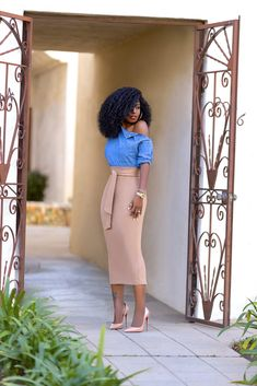 Denim Off Shoulder Top + Belted Pencil Skirt (Style Pantry) Cute Church Outfits, Classy Work Outfits, Classy Dress, Chic Outfits, Fashion Outfits, Office Outfits, Long Pencil Skirt, Pencil Skirt Outfits, Pencil Skirts