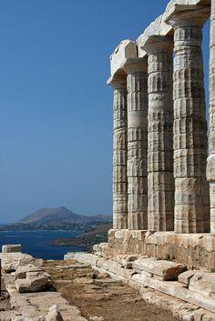 The Temple of Poseidon on Cape Sounion near Athens, Greece