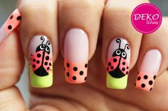 Decoración de uñas mariquitas - Lady bug nail art