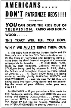 """Who remembers McCarthysim? Well as it turns out Ole Joe may have been right. Check out this flyer from the red scare talking about Hollywood and """"internationalists"""" working togethor with Moscow. Native American History, British History, American Civil War, Cold War Propaganda, Communist Propaganda, Anti Communism, Red Scare, Unknown Pleasures, Newspaper Article"""