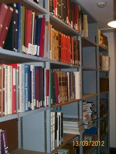 Freed-up shelfspaces, and books waiting to be moved to office  - a productive Inspection week for the Music department in 2012; photographed by Clemens Gresser.