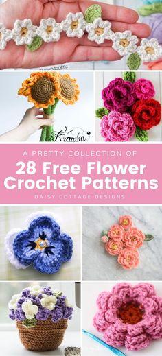 Crochet Flower Tutorial, Crochet Flower Patterns, Crochet Motif, Flower Crochet, Knitting Patterns, Crocheted Flowers, Quick Crochet, Free Crochet, Yarn Crafts