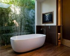 Bathroom, Free Standing Bathtub With Modern Design Placed Close To Transparent Glass Wall Perfecting Natural Bathroom Design: Natural Motif Bathroom Concept Thoughts