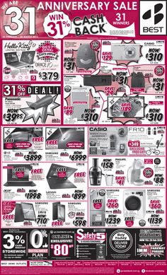 """Straits Times Ad - 26 Feb 2016 31 Anniversary Sale! * Lucky Draw: 31 Winners to win 31% cashback on their purchase (*Capped @ $1,550) * Exclusive to BEST Denki: Hello Kitty 2-in-1 10.1"""" Tablet * 31% OFF Deal: Panasonic Hair Dryer * $31 & $310 Deals - 6 Products Visit here for more details: https://go.bestdenki.com.sg/press-advert"""