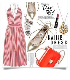 """""""Untitled #365"""" by natalie1523 ❤ liked on Polyvore featuring MDS Stripes, Steve Madden, Furla, Sandra Magsamen, Arche and halterdresses"""