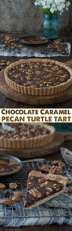 ... with caramel and chocolate then topped with pecans and sea salt