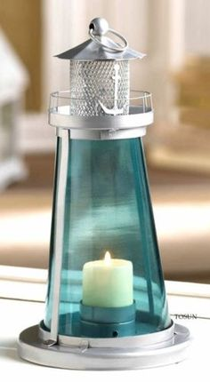 LIGHTHOUSE-NAUTICAL-WATCH-TOWER-BLUE-GLASS-CANDLE-LAMP-NIB