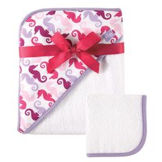 Amazon.com : Hudson Baby Print Woven Hooded Towel and Washcloth, Girl, Seahorse Print : Baby
