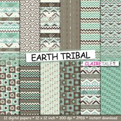 """Tribal digital paper: """"EARTH TRIBAL"""" with tribal patterns and tribal backgrounds, arrows, feathers, leaves, chevrons in brown and green by ClaireTALE on Etsy"""