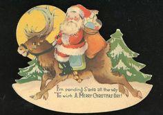 Charming-Rocking-Christmas-Card-Santa-Rides-a-Raindeer-c1940