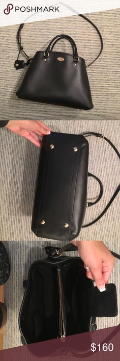 Like new coach purse small Marlot carry all This purse is in like new condition except the small snag in the last picture. The snag is on the small handle. It has a cross body handle and two small handles to carry on arm. 13' length. 9 inches tall. 6 inches wide. Coach Bags Shoulder Bags