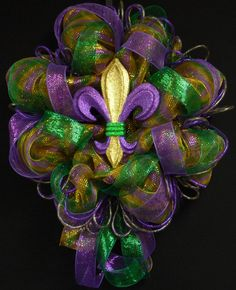Mardi Gras, Mardi Gras Decor, Mardi Gras Wreath, Purple Gold Green. $65.00, via Etsy.