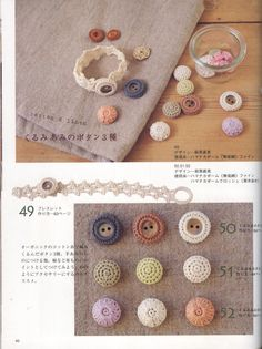 ONDORI - sanekp - Álbuns da web do Picasa.Cute crochet buttons and bracelet. Free charts for making! Art Au Crochet, Crochet Diy, Crochet Motifs, Crochet Books, Love Crochet, Irish Crochet, Crochet Flowers, Crochet Patterns, Crochet Embellishments