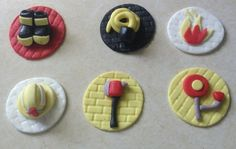 12 FIREFIGHTER CUPCAKE Topper Fire fighter Fireman Hose Fire hydrant Helmet Birthday party Decorations
