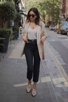 casual outfits for work ~ casual outfits . casual outfits for winter . casual outfits for women . casual outfits for work . casual outfits for school . Beige Blazer Outfit, Look Blazer, Neutral Outfit, Neutral Style, Black Trousers Outfit Work, Cami Top Outfit, Jeans Outfit For Work, Cream Jeans Outfit, Black Blazer Outfits