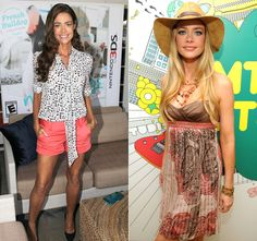 Spring chic shorts, black and white blouse and brown waves, or bohemian print strapless dress, big hat and blonde hair!