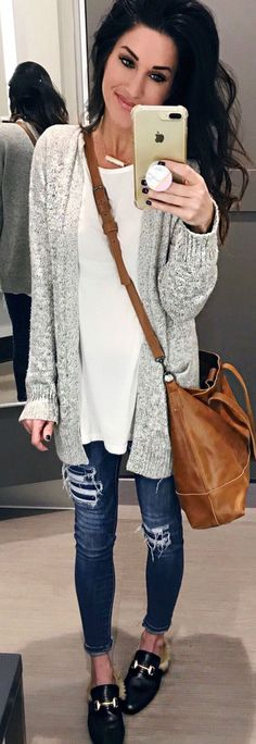 #winter #outfits grey cardigan and blue skinny jeans