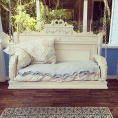 Bed headboard turned into a porch swing
