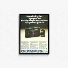 Olympus XA Camera  Pocket Camera  1970s Photography  Full Frame Camera Ad  Camera Product Ad  Olympus A11 Unit  Handheld Retro Camera by RetroPapers