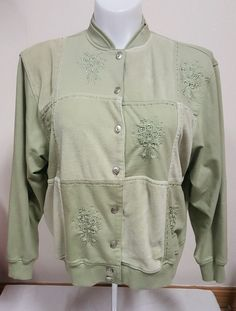 Alfred Dunner Women's Button Up Sweater Green Floral Beaded Size Petite XL PXL | eBay