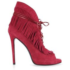 Ines Della Rovere Oroxum Open Toe Boots ($240) ❤ liked on Polyvore featuring shoes, boots, suede shoes, red fringe boots, suede fringe boots, fringe boots and twisted shoes