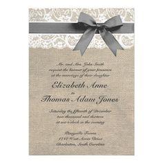 White Lace and Burlap Wedding Invitation