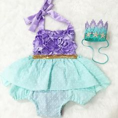 Beautiful romper part of our Merbabe Sparkle Romper collection.   Sequin Top: Lavender Bottom Fabric: Emerald with Lavender Tutu