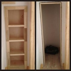 Hm.  May have to do this --> Hidden Bookcase Door Conceals Gun Closet - bookcase rolls out of way to reveal secret closet