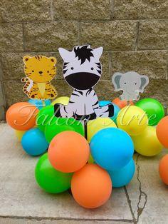 Jungle Safari Baby Shower or Birthday Balloon by FalconArte Dschungel-Safari-Babyparty oder Geburtst Baby Boy 1st Birthday Party, Jungle Theme Birthday, Safari Theme Party, Farm Animal Birthday, Birthday Themes For Boys, Safari Party Decorations, Birthday Balloons, Jungle Safari, Ideas