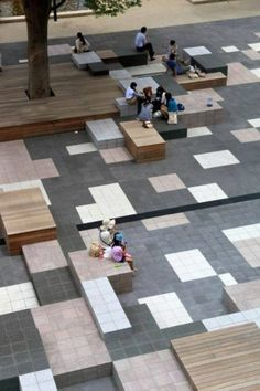 Works / Teikyo Heisei University Nakano: Idea of flooring design . - Works / Teikyo Heisei University Nakano: Idea of flooring design … - Landscape And Urbanism, Urban Landscape, Landscape Designs, City Landscape, Urban Furniture, Street Furniture, Plaza Design, Public Space Design, Public Spaces