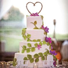 Vine-Wrapped Cake - like the idea, not necessarily these flowers or this topper