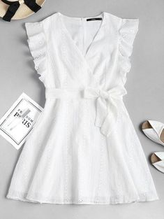 Ruffle Broderie Anglaise Partykleid – WHITE S # whitedress # Sommerkleid # Causaldres … - Mode Frauen Club Mode Outfits, Dress Outfits, Girl Outfits, Summer Outfits, Summer Clothes, Dress Clothes, White Summer Dresses, White Dress Outfit, White Ruffle Dress