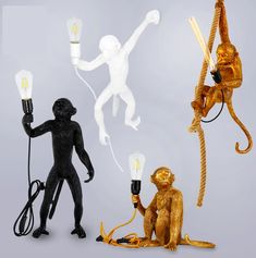 Resin Monkey Unique Pendant Light Nordic Desk Lamp sold by RhysLights on Storenvy Rope Pendant Light, Cheap Pendant Lights, Pendant Lighting, Palazzo, Pendulum Lights, Luminaire Led, Black White Gold, Loft, Hanging Pendants