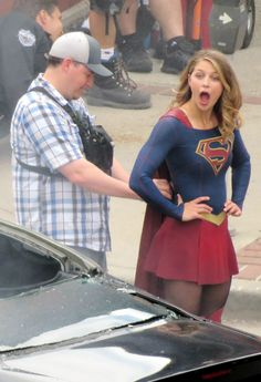 Melissa Benoist on the set of Supergirl in New Westminster Canada July 27, 2017