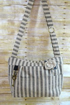 Camera Bag / Black & Natural Ticking / rustic by DarbyMack