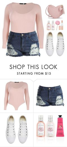 """""""Untitled #696"""" by metalhippieprincess ❤ liked on Polyvore featuring Boohoo, Converse, Crabtree & Evelyn and Rimmel"""