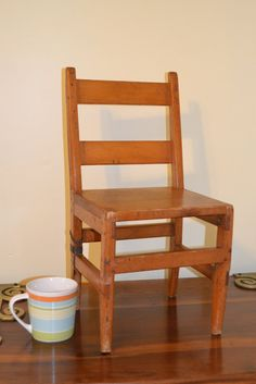 Vintage Wood Chair Children's Primitive by PanchosPorch on Etsy, $20.00