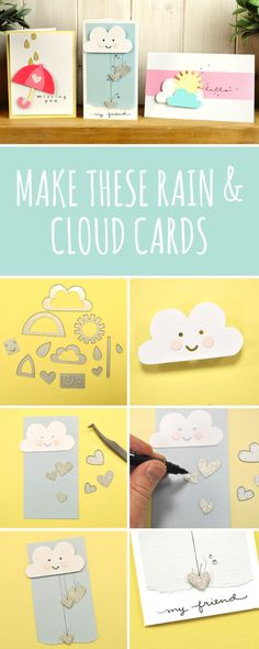 In this Sizzix tutorial, we'll show you how you can easily make these rain & cloud cards using brand new Sizzix dies. Perfect little handmade cards to suit any occasion- cardmaking - DIY cards - sizzix ideas - sizzix card ideas- DIY crafts
