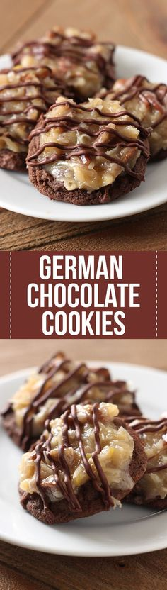 Oh my YUM!! German Chocolate Cookies feature a homemade ultra soft chewy gooey double chocolate cookie loaded with a flavorful coconut pecan topping. Amazing!