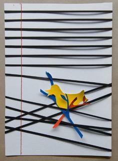 Bird on a wire 2  A4 van Whitepaperbird op Etsy