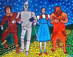 WIZARD of OZ art Panel Poster of Painting Mounted Ready To Hang  Lion Scarecrow Tin Man Dorothy
