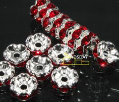 ON SELL Silver plated red rhinestone spacer 6mm 50PCS - Beads