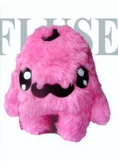 Fluse Kawaii  Plush Monster Moustache  Pink von Fluse123 auf Etsy, €32.00