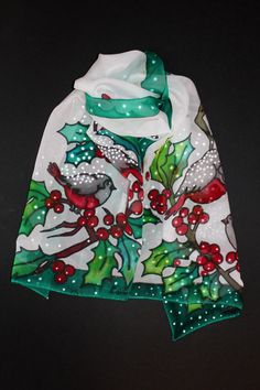 57-18 in long silk scarf 44-145 cm Other Xmas scarves here https://www.etsy.com/listing/479334052/poinsettia-scarfhand-painted-scarfsquare?ref=listing-shop-header-2 https://www.etsy.com/listing/479338556/poinsettia-hand-painted-scarflong?ref=listing-shop-header-1 it is a perfect gift for mother, wife, girlfriend and sister))  William Shakespeare  Blow, blow, thou winter wind Thou art not so unkind As mans ingratitude; Thy tooth is no...