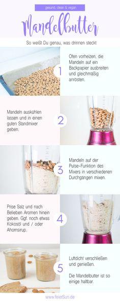 Selbermachen statt kaufen - gesund, lecker, vegan und sogar ohne unnötige Zusatzstoffe. Mandelmus bzw. Mandelbutter einfach selber machen. Mit schon 2 Zutaten. Das einfachste Rezept für Mandelbutter und Mandelmus findest Du auf #feierSun.de #feierSunFood #Rezept #Mandeln #Almond